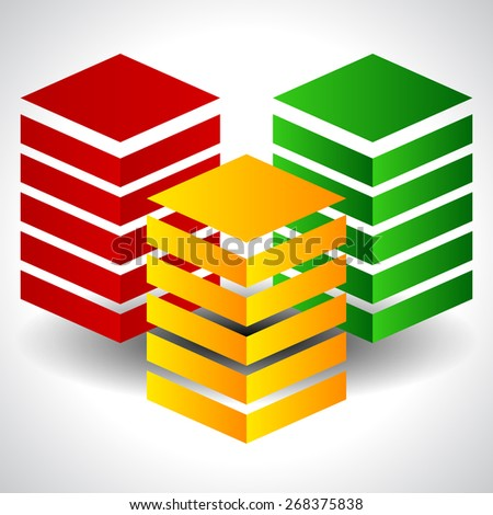 Tricolor Abstract Towers. Eps 10 Vector - stock vector