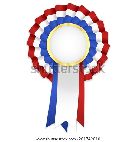 Tricolor Rosette Blue White Red Ribbon Stock Vector ...Red And Blue Ribbon Logo