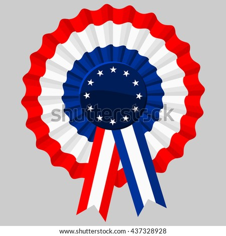 Tricolor Rosette, with stars in the center and ribbons. Flat color style design vector.