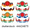 tricolor vector seals and ornate ribbons - stock photo