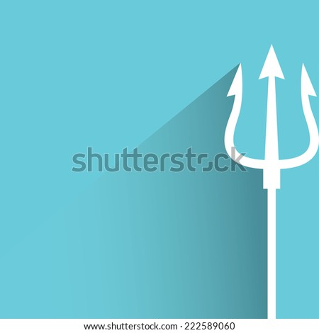 trident in blue background, flat and shadow design - stock vector
