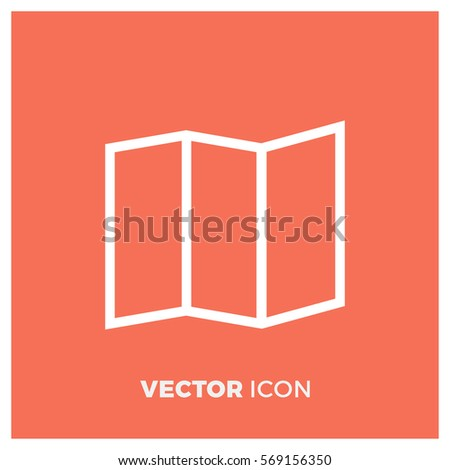 trifold map line vector icon