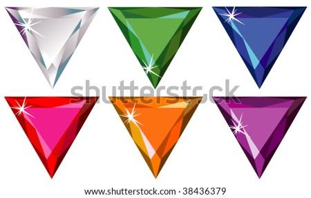Trillion cut precious stones with sparkle - stock vector