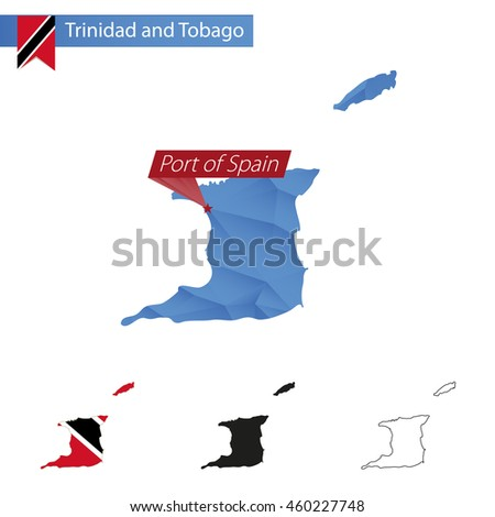 Trinidad and Tobago blue Low Poly map with capital Port of Spain, versions with flag, black and outline. Vector Illustration. - stock vector