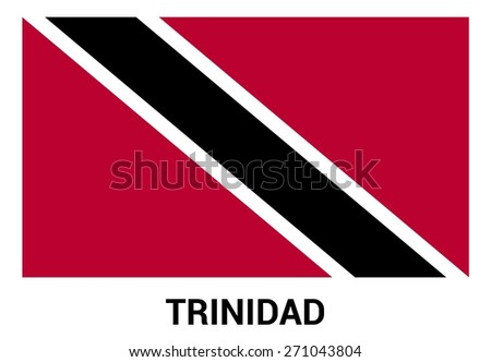Trinidad flag isolated vector in official colors and Proportion Correctly. country's name label in bottom - stock vector