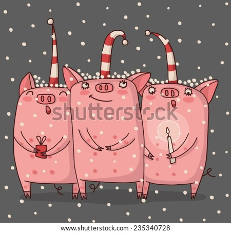 Trio of pigs are singing a Christmas song. - stock vector