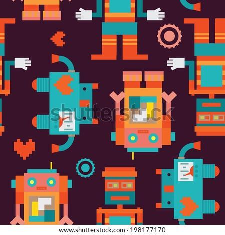 Trio robots seamless pattern - stock vector