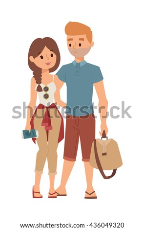 Trip abroad happy young couple just won trip abroad and trip abroad concept. Vector couple people trip abroad and journey tourism vacation international, travelling people. Europe people travelling. - stock vector