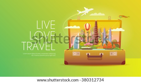Trip to Asia. Travel to Asia. Vacation to Asia. Time to travel. Road trip. Tourism to Asia. Travel banner. Open suitcase with landmarks. Travelling illustration. Wanderlust. Flat style. EPS 10 - stock vector