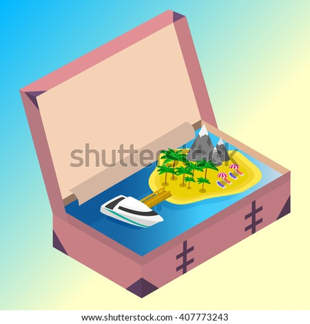 Trip to Summer holidays. Travel to Summer holidays. Vacation. Road trip. Tourism. Travel banner. Open suitcase with landmarks, Sea and island. Journey. Travelling 3d isometric illustration.