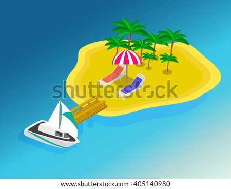 Trip to Summer holidays. Travel to Summer holidays. Vacation. Tourism. Travel banner. Journey. Travelling 3d isometric illustration. Modern flat design banner. Isometric island. Isometric mountains - stock vector