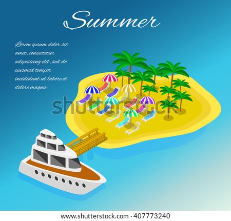 Trip to Summer holidays. Travel to Summer holidays. Vacation. Tourism. Travel banner. Journey. Travelling 3d isometric illustration. Modern flat design banner - stock vector