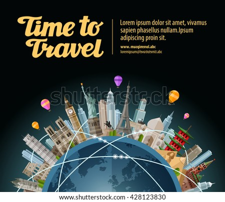 Trip to world. Travel. Landmarks on the globe. Tourism or vacation - stock vector
