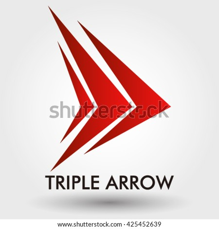 triple arrow abstract vector logo design stock vector royalty free