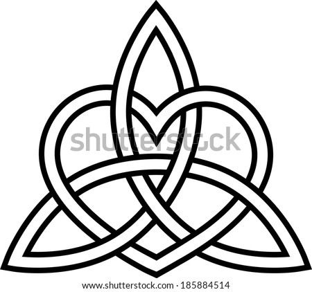 Triquetra Heart - Paganism - Celtic Endless Knot - stock vector
