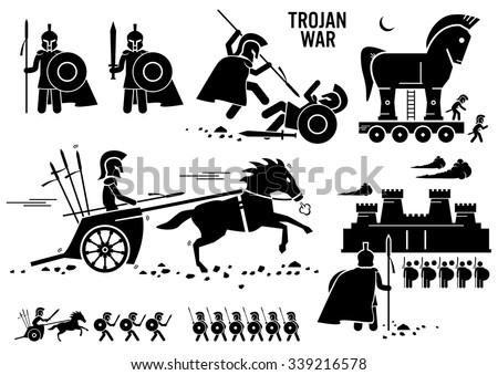 Trojan War Horse Greek Rome Warrior Troy Sparta Spartan Stick Figure Pictogram Icons - stock vector