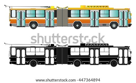 Trolley bus vector illustration. Isolated on white. Cable car trolleybus. Icon. Flat style. Silhouette - stock vector