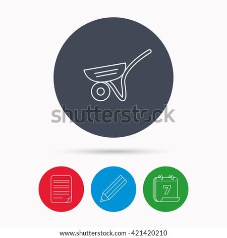 Trolley icon. Garden cart sign. Gardener equipment symbol. Calendar, pencil or edit and document file signs. Vector - stock vector