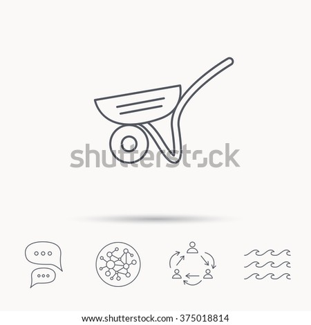 Trolley icon. Garden cart sign. Gardener equipment symbol. Global connect network, ocean wave and chat dialog icons. Teamwork symbol. - stock vector