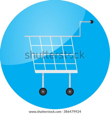 Trolley icon round glossy app. Trolley car, shopping trolley,  shopping cart, shopping and trolley icon, supermarket trolley, trolley button buy, shop cart. Vector abstract flat design illustration
