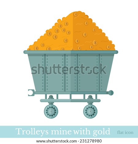 trolley mine with gold coin on white - stock vector