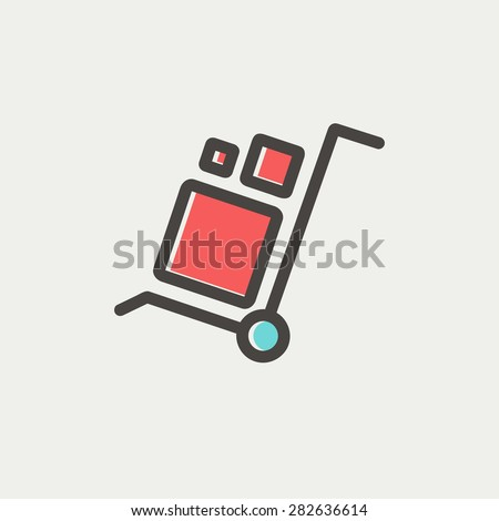 Trolley with boxes icon thin line for web and mobile, modern minimalistic flat design. Vector icon with dark grey outline and offset colour on light grey background. - stock vector