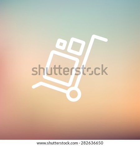Trolley with boxes icon thin line for web and mobile, modern minimalistic flat design. Vector white icon on gradient mesh background. - stock vector