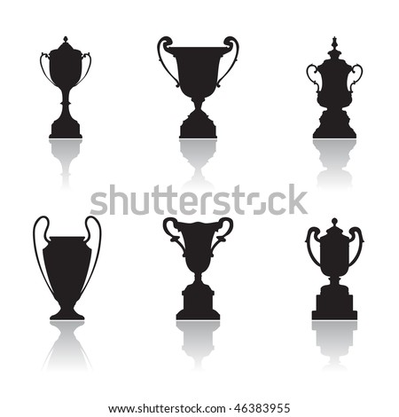 Trophies, set of silhouettes - stock vector