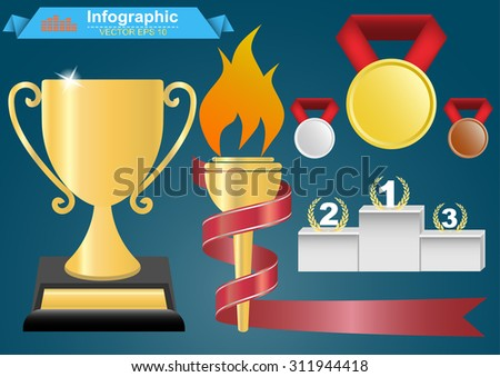 Trophy and awards icons set.Colorful vector illustration. - stock vector