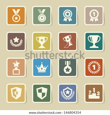 Trophy and awards icons set.Illustration eps10  - stock vector