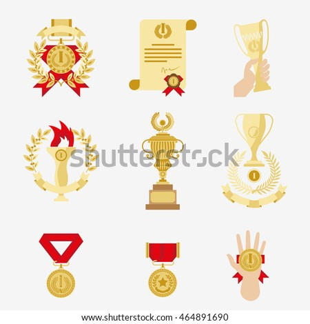 Trophy and awards prize icons set. Vector illustration.