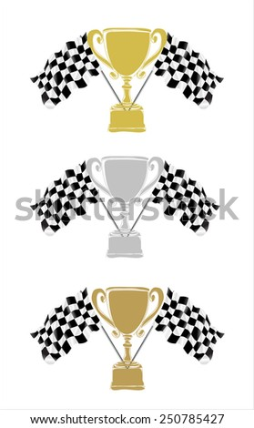 Trophy and Flag- hands sketch vector illustration