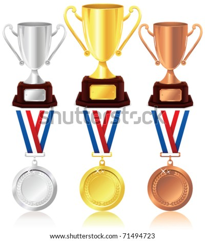 Trophy and medals - stock vector