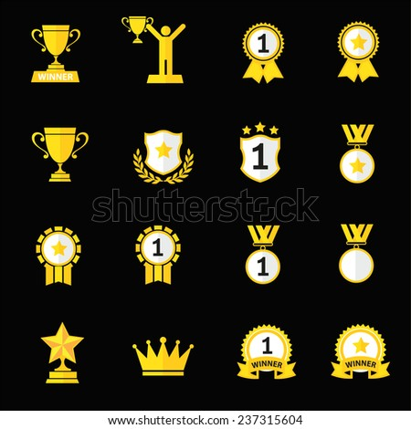 Trophy and prize  flat icon - stock vector