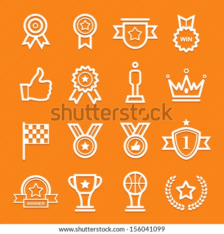 Trophy Prize Symbol Line Icon On Stock Vector 156041099 Shutterstock