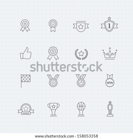 Trophy and prize vector thin line symbol icon  - stock vector