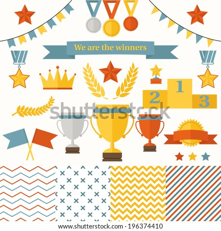 Trophy and winners icons set. Set includes cup, medals, honorary star pedestal, crown, flags, seamless patterns. - stock vector