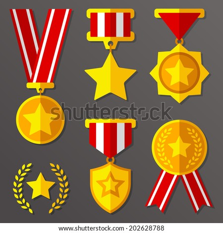 Trophy, awards, flat medals set with stars icon - stock vector