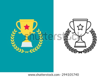 Trophy cup flat and line style vector icon - stock vector