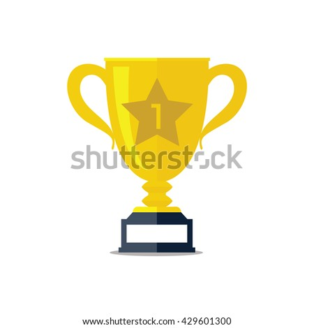 Trophy cup flat icon vector - stock vector