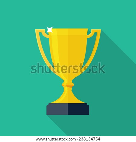 Trophy Cup Flat Icon with Long Shadow - stock vector