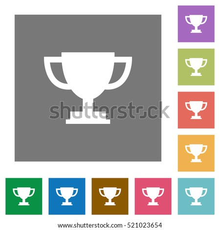 Trophy cup flat icons on simple color square background.