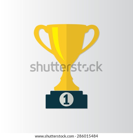 Trophy Cup icon on prize podium. First place award. Champions or winners Infographic element. Vector illustration. - stock vector