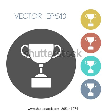 trophy cup icon set. vector illustration - stock vector