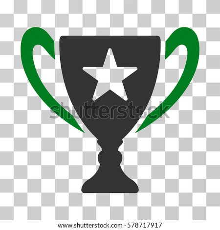 Trophy Cup icon. Vector illustration style is flat iconic bicolor symbol, green and gray colors, transparent background. Designed for web and software interfaces.