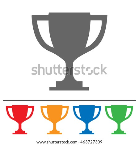 Trophy Cup Vector Icon Simple Isolated Set