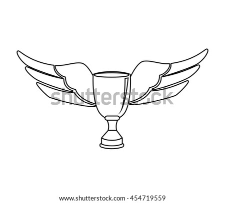Trophy Cup Wings Black And White Colors Isolated Flat Icon