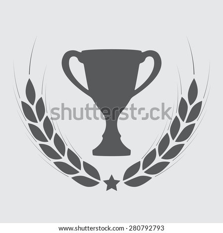 Trophy cup with laurel wreath. Award icon or sign. Vector illustration.