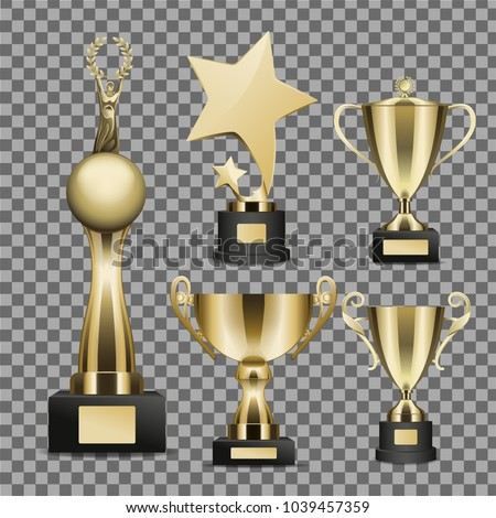 Trophy Cups Vectors Set On Transparent Background Golden Star Human Figure Globe Statuettes