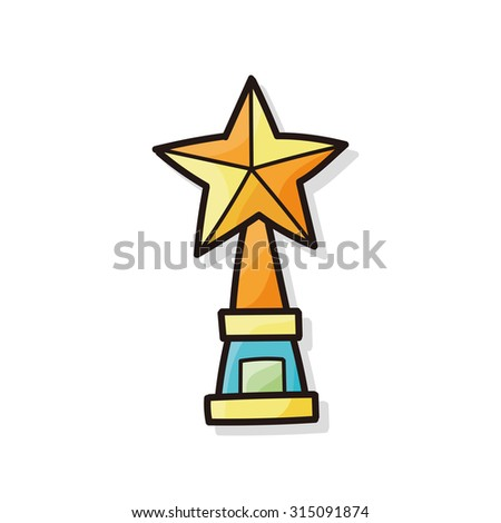 Trophy doodle - stock vector